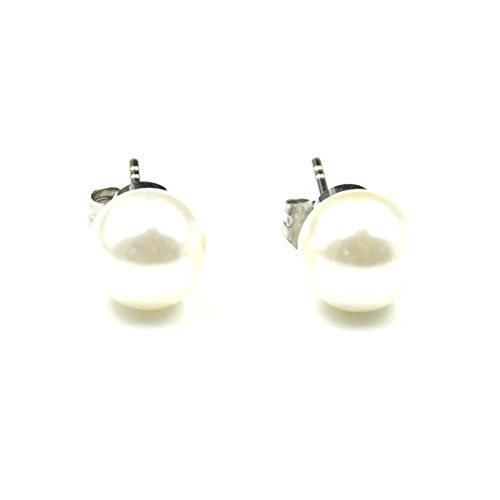 Shell Perlen Edelstahl Magnet Gesundheit Classic Rund Ball Ohrstecker für Frauen Geschenk für Thanksgiving Geschenk Weihnachten von rakii -