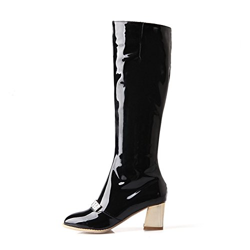 AgooLar Damen Mittler Absatz Rein Reißverschluss Stiefel mit Beschlagene Strass, Rot, 35