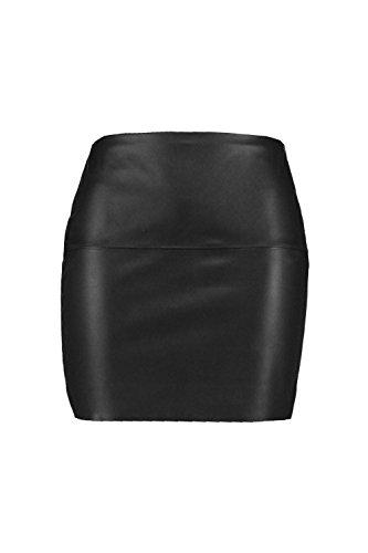 Schwarz Damen Plus Natasha Minirock mit seitlicher PU-Einfassung Schwarz