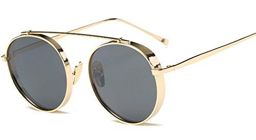 Sucatle Das neue, Damen, Mode, Sonnenbrille, Metall, dicker Rand, rund Box, hell, Sonne, Gläser, Mode, Stars, der gleiche Punkt, Sonnenbrillen Sucatle