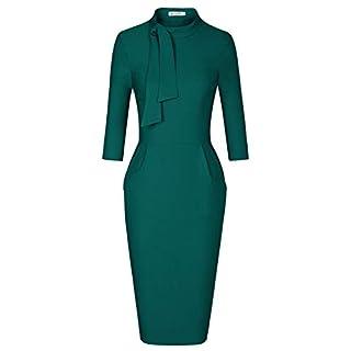 MUXXN Fashion 50s Style Retro Bandage Bodycon Sexy Club Party Dress Pockets (Dark Green XXL)