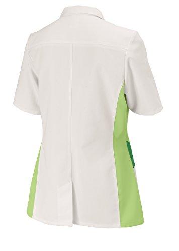 clinicfashion Kurzkasack weiß/hellgrün für Damen, Mischgewebe, Größe 32-52 Weiß/Hellgrün
