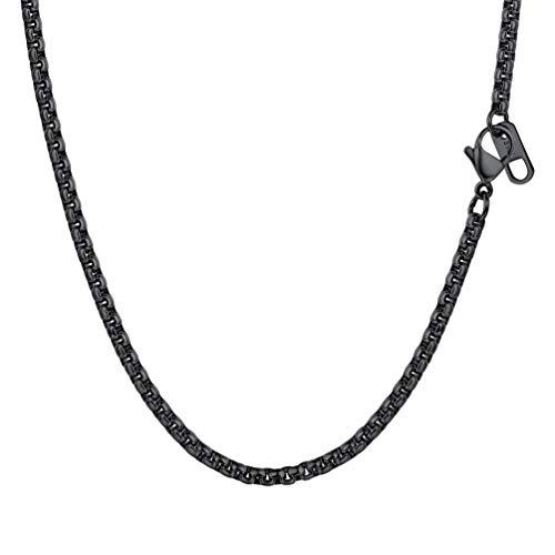 PROSTEEL Halskette Hochwertig Edelstahl Ankerkette Erbskette 3MM Breite Herren Kette mit Karabinerverschluss 46CM Lang Schwarz
