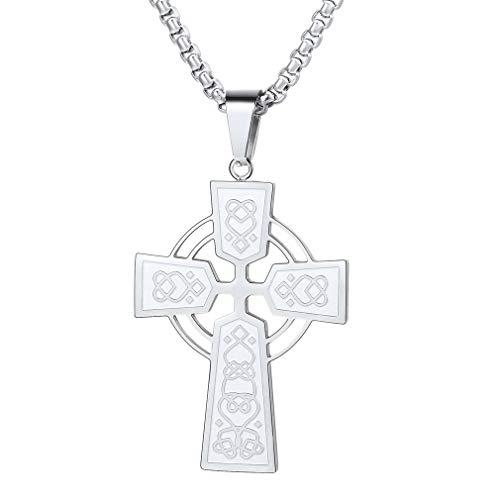 Halskette Anhänger Irisch Kreuz Kreuzanhänger Christian Amulett Dame Herren Silber Länge: 50cm (+ 5cm) ()