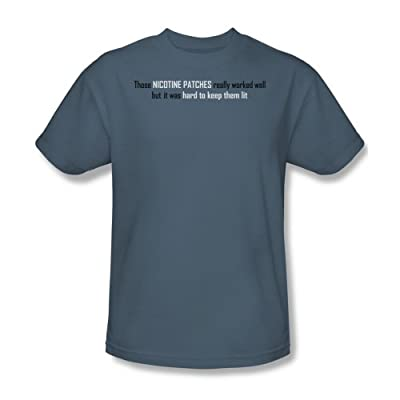 Nicotine Patches - Mens T-Shirt In Slate from Funny Tees