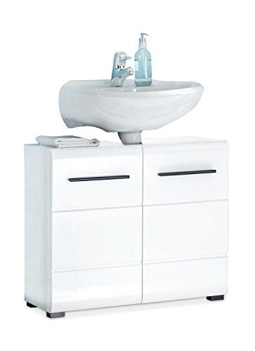 Waschbeckenunterschrank Waschtischunterschrank FLEMMING 1 | Schwarz | Weiß Hochglanz | 2 Türen