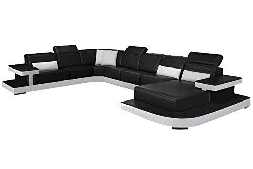 Sofagarnitur in Schwarz aus Leder & Kunstleder, Couch für 8-10 Personen, inkl. Chaiselongue, XXL Ledersofa, Ecksofa & Eckcouch ()