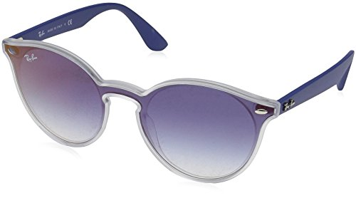 Ray-Ban Unisex-Erwachsene 0RB4380N 6356X0 37 Sonnenbrille, Matte Transparent/Cleargradientbluemirrorred,