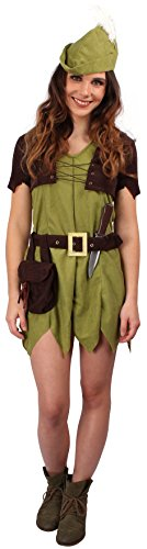 Kostüme Frauen Robin (Waldläufer Kostüm grün-braun für Damen | Größe 34 | 2-teiliges Robin Hood Kostüm Kleid | Räuber Faschingskostüm für)