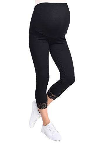 Mija - UmstandsLeggings für Schwangere Capri 3/4 Hose Leggings 3005 (L, Schwarz)