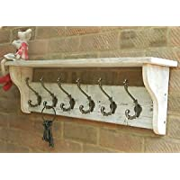 RusticWoodenCrafts Reclaimed wood Coat & Hat Rack shelf Shabby Chic Distressed White Wash 4 hooks = 68cm