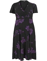 b76094ec8ff8 Yours Clothing Women s Plus Size Floral Fit   Flare Wrap Dress