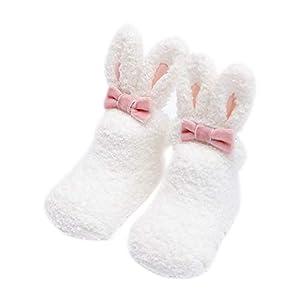 Scrox 1Par Calcetines de bebé Recién Nacido niña 3 años Lindo Conejo Peluche Espesar Socks Dormir Algodón Otoño e Invierno Calcetines Antideslizantes de Piso (Gris) 10