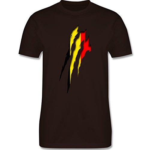 Länder - Belgien Krallenspuren - Herren Premium T-Shirt Braun