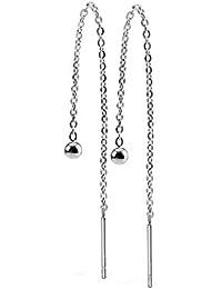 viva-adorno® 1 Paar Damen Ohrringe Durchzieher Chirurgenstahl Ketten Ohrhänger Kugel Z527.1