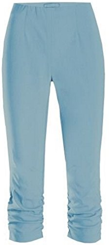 Stehmann Maria-530, stretchige Caprihose bis zum Knie seitlich gerafft Größe 36, Farbe jeansblau