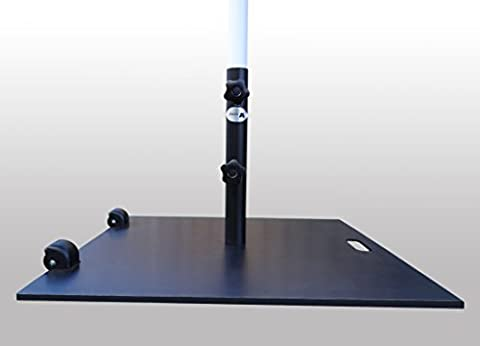 Base en acier/support pour jardin Parapluie Parasol | cylindres/roues | Pole Largeur max. Ø 48mm | 60x 60cm | 21kg | Sorara | carré | Noir