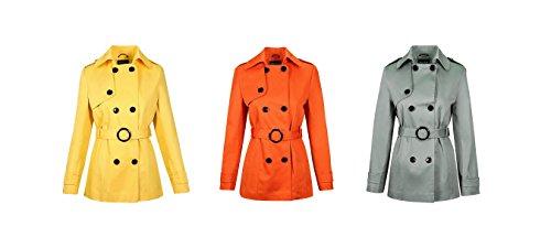 La Creme - Damen Sommerjacke Damen Feder Kurz Zweireihig Mit gürtel Leichter Mantel NEUE FARBEN Orange