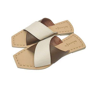 zhENfu Womens Sandals Summer Comfort PU Outdoor Walking Low Heel Green Beige Beige