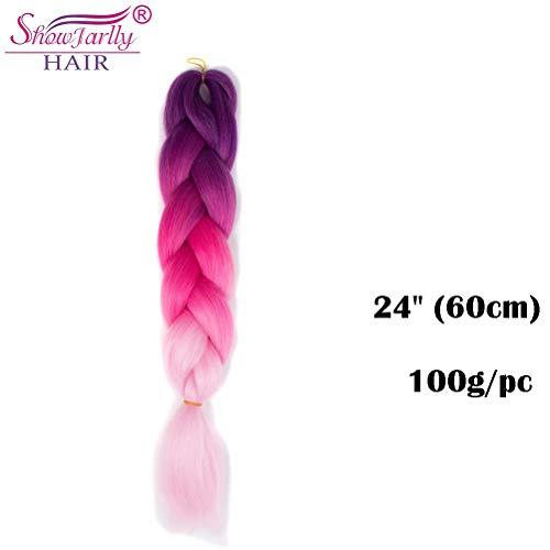 Ombre Jumbo Zöpfe Haar Flechten Haar Kanekalon, ShowJarlly Xpressions Synthetische Haarverlängerungen 24 Puppe (60 cm) 300g / 3Pcs, (C25#Purple/Peach/Light Pink) - Synthetische Haarverlängerungen