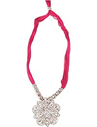 Sabitri Jute Product Pink And Silver Alloy Strand Necklace For Women (Sabitri Jute Product 3)