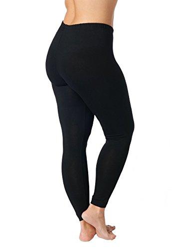 Ulla Popken Damen große Größen bis 76, Leggings mit Rundum-Gummibund, Slim Fit, weiches Jersey, Elastische Qualität, schwarz 46/48 665315 10-46+
