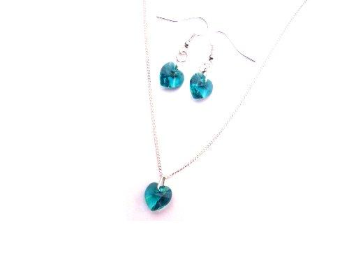 Dicembre Birthstone Bluezircon Cuore Swarovski Elements Set di Orecchini e Collana in confezione regalo