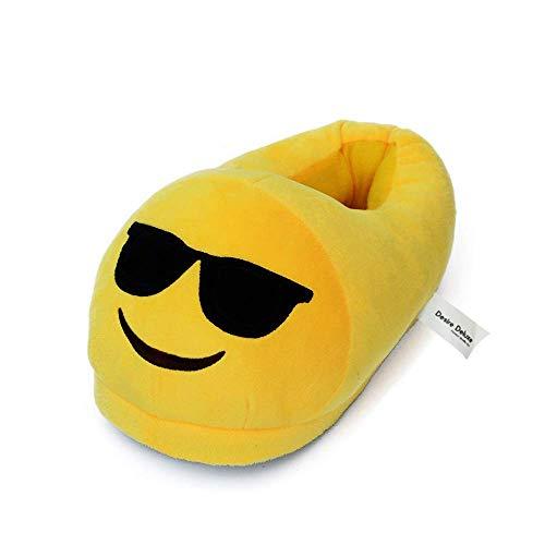 Desire Deluxe Sonnenbrille Lächelndes Gesicht Emoji Geschenk Hausschuhe - Super weiche Winter Hausschuhe aus Plüsch in Universalgröße für Mädchen, Jungen, Erwachsene, Universalgröße 35-43