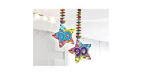 90.Geburtstag Deko Rotorspiralen 2 Stück Hängende Girlande mit Zahl 90 Spiraldeckenhänger bunter Stern mit 90 Dekoration zum 90er Geburtstag Party oder andere Anlässe