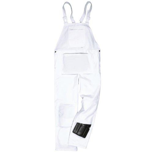 Portwest Unisex Maler-Latzhose / Arbeitshose mit Latz (S x Regular) (Weiß)