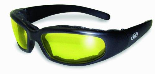Global Vision Chicago Padded Riding Glasses (Black Frame/Yellow Lens)