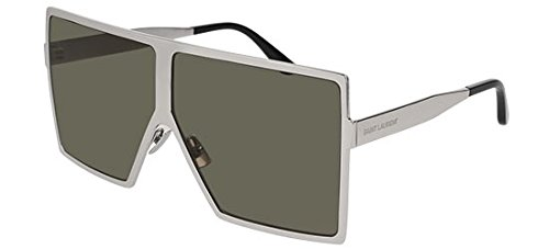 Saint Laurent Sonnenbrillen Betty SL 182 Silver/Grey Green Unisex Brillen für Erwachsene
