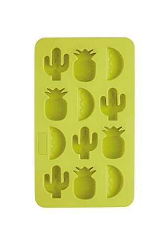 Kitchen Craft Barcraft Tropical Chic Fantaisie bac à glaçons, 22 x 13 cm (21,6 x 12,7 cm), Coque en Silicone, Vert, 13 x 22 x 2 cm