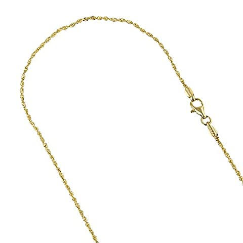 Solid 14K Yellow Gold 1.5mm Wide Rope Chain Diamond Cut
