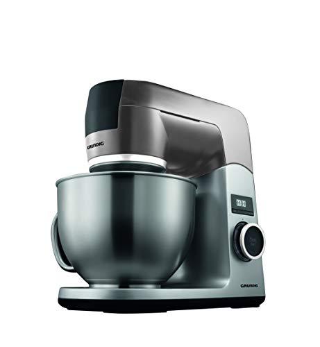 Grundig KMP8650S Küchenmaschine, 1000 W, 4,6 l Edelstahlrührschüssel, Schwarz/Silber