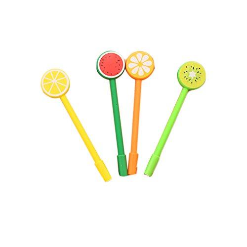 Fragrant 4pcs La frutta fresca creativo cartone animato Rollerball dell'inchiostro del gel Refill Pen Set (colore casuale) - Frutta Cancelleria