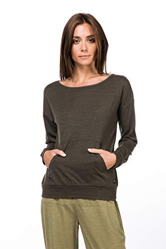 super.natural Damen Langarm-Shirt, Mit Merinowolle, W SLASH NECK TOP, Größe: M, Farbe: Khaki meliert