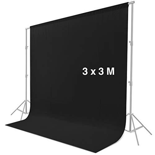 CRAPHY Sfondo Fotografico 3 x 3 M Aggiornato, Sfondo Photo Studio Background Tessuto Pieghevole in Seta Leggero, Sfondo per Fotografia Professionale, Video e Televisione - Nero