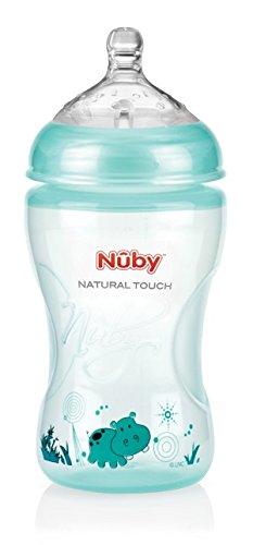 Preisvergleich Produktbild Nuby NT68014 Natural Touch Weithalsflasche aus PP 330ml / GREEN DESIGN mit Soft-Flex Flaschensauger aus Silikon ab 3.Monat / Gr.M für mittleren Trinkfluss / Muttermilch,  Milch,  Tee,  Säfte,  Grün