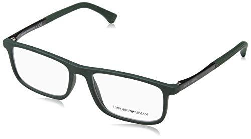 Emporio Armani 0EA3125 Optische Rahmen für Herren, Grün (Grüner Gummi), 53 mm