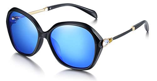 WHCREAT Damen Mode Polarisierte Sonnenbrille UV400-Schutz Übergroße Brillen - Schwarz Rahmen Verspiegelt Eisblau Linse