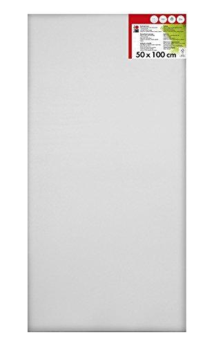 Marabu 1616000000503 - Keilrahmen, mit 380 g/qm Baumwolle bespannt, 3 fach grundiert, leicht saugend, für Acryl-, Öl-, Gouache- und Temperafarben, ca. 50 x 100 cm, Rahmentiefe ca. 1,8 cm, weiß