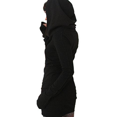 ipretty automne Kapuzenpullover robe chemisier Femme Casual Sweat-shirt à capuche Pull Noir