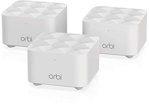 Netgear Orbi Sistema WiFi Mesh RBK13, Pacchetto da 3, copertura fino a 200 m2, velocità AC1200