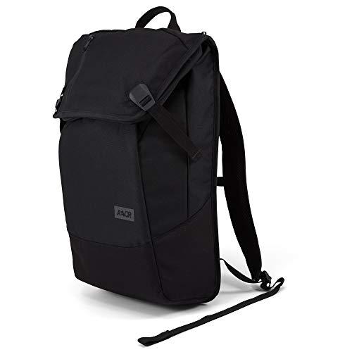 AEVOR Daypack Black Eclipse Rucksack für die Uni und Freizeit Inklusive Laptopfach und erweiterbar auf 28 Liter
