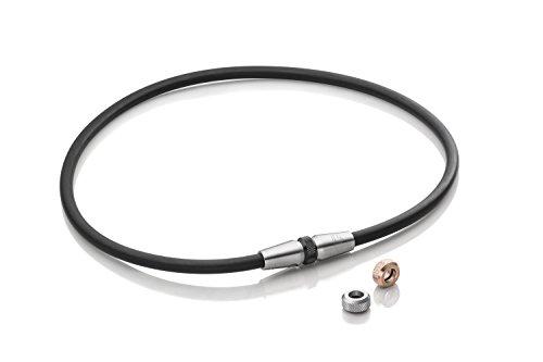 Lunavit Magnetschmuck Halskette Clic Mag 3.0 mit wechselbaren Charms in Rose, Silber und Schwarz für Damen und Herren, 1 Neodym Magnet mit 2000 Gauß, 46 - 55 cm (Kupfer Magnetische Halskette)