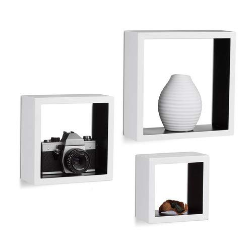 Relaxdays 10021791_362 mensole a muro quadrate, cubo, set da 3, legno mdf, varie misure, bianco/nero