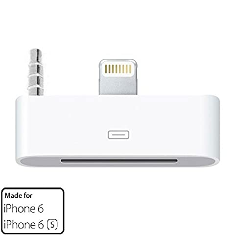 Zactech 8 Pin Lightning with 3.5mm to 30 Pin Audio Dock, Charging, Sync Adapter Converter Connector for iPhone 6, 6S