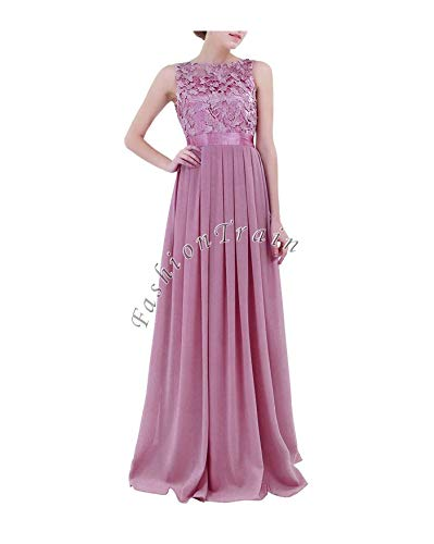 GROSIU& Sexy Women Prom Bridesmaid Long Evening Maxi Dress with Appliques Embroidered Plum 2