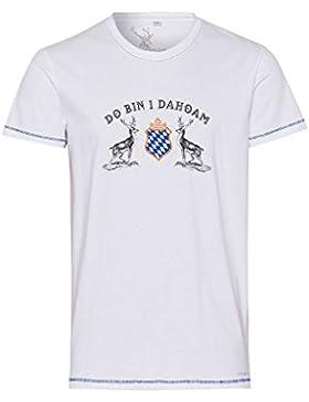 Spieth & Wensky Herren Trachten-Shirt Kurzarm Weiß Dahoam 003307